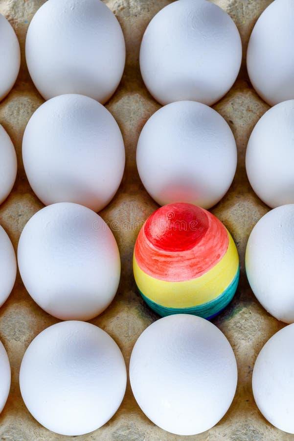 Huevo pintado como una bandera de LGBT Enorgull?zcase al transexual bisexual gay lesbiano de las derechas del mes LGBT Mes del or imagen de archivo