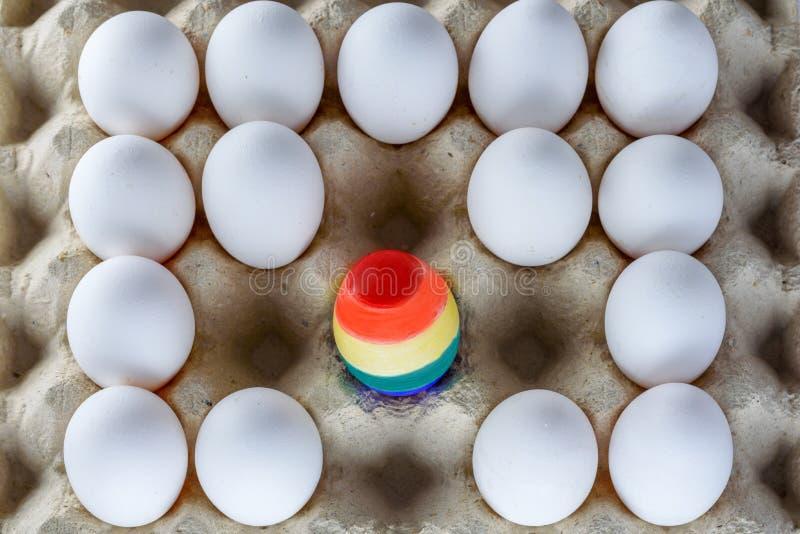 Huevo pintado como una bandera de LGBT Enorgull?zcase al transexual bisexual gay lesbiano de las derechas del mes LGBT Mes del or foto de archivo libre de regalías