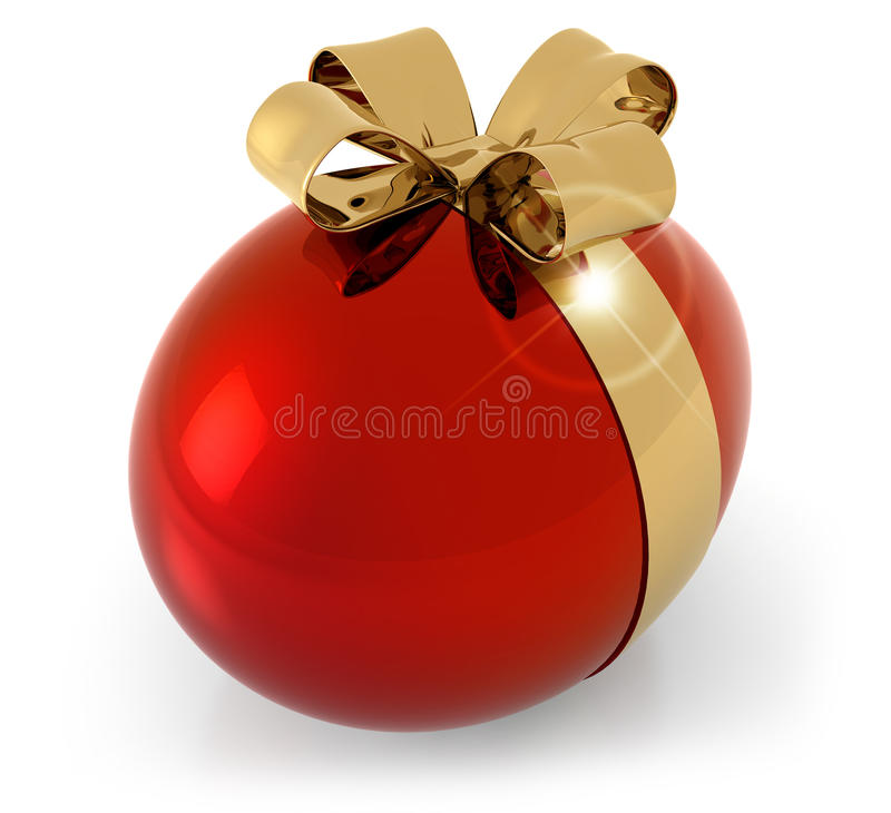 Huevo rojo con el arco de oro ilustración del vector