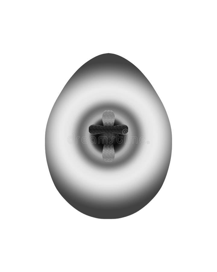 Huevo tridimensional con una cruz ilustración del vector