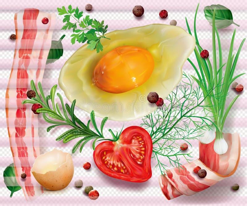 Huevo y verduras del tocino ilustración del vector