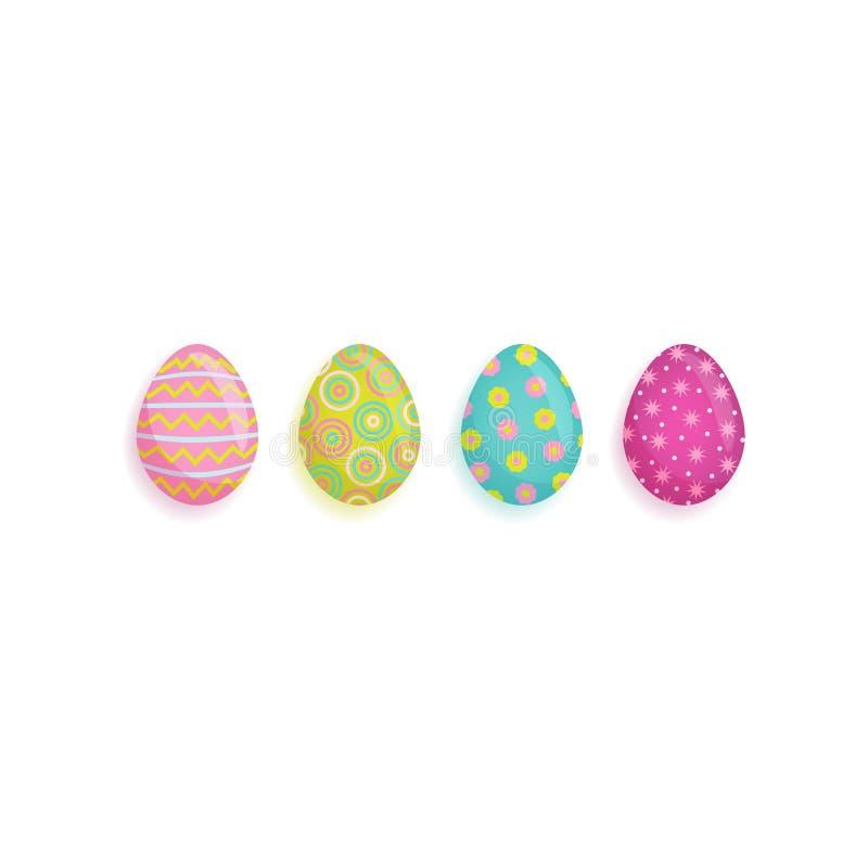 Huevos adornados pascua planos del vector fijados stock de ilustración