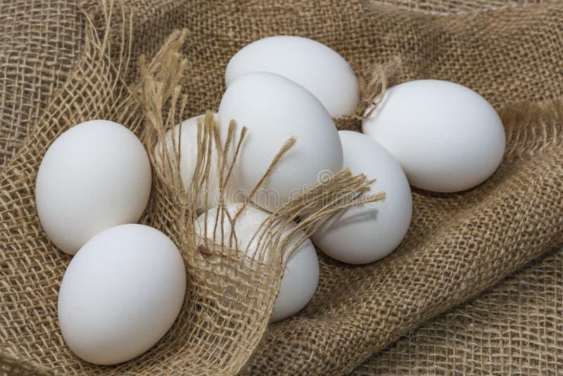 Huevos blancos de gallina envueltos en burlap al lado de una canasta Huevos blancos sobre fondo de burún imagenes de archivo