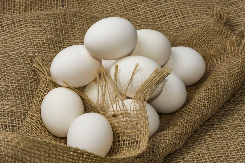 Huevos blancos de gallina envueltos en burlap al lado de una canasta Huevos blancos sobre fondo de burún foto de archivo libre de regalías