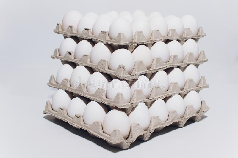 Huevos blancos de una gallina en inofensivo, embalaje de la cartulina en un fondo blanco 5 paquetes foto de archivo libre de regalías
