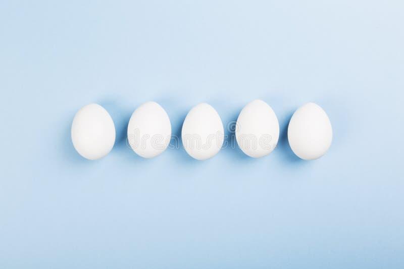 Huevos blancos en fondo azul Visión superior fotografía de archivo libre de regalías