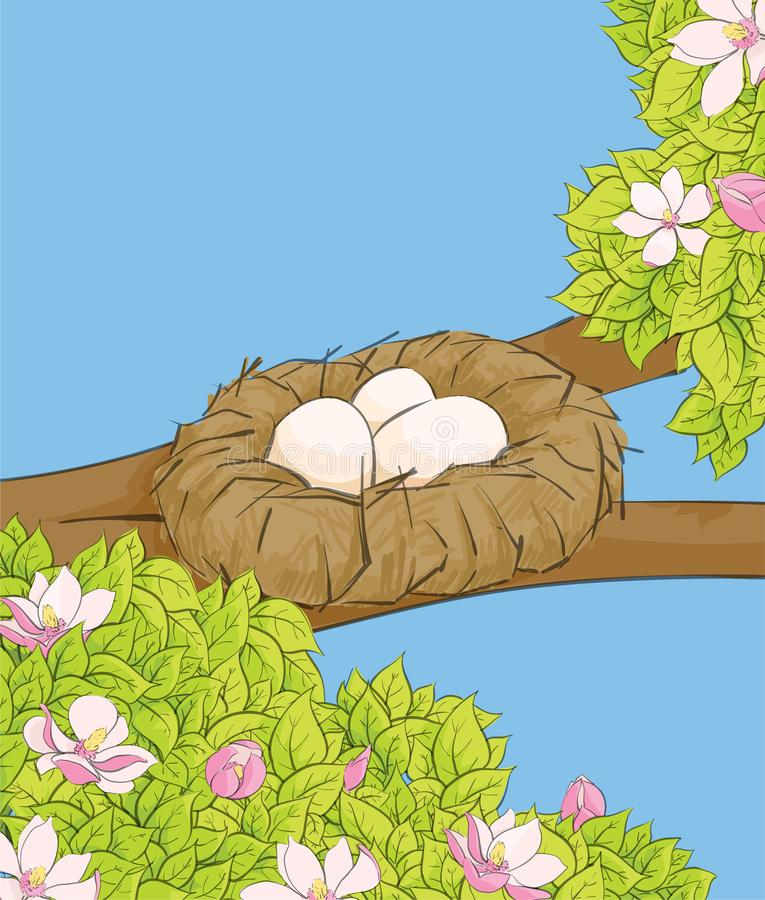 Huevos blancos en la jerarquía ilustración del vector