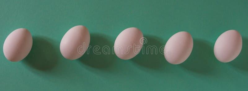 Huevos blancos en una opinión superior del fondo verde imagen de archivo