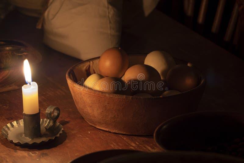 Huevos, bolso de la harina e intestinos imagen de archivo