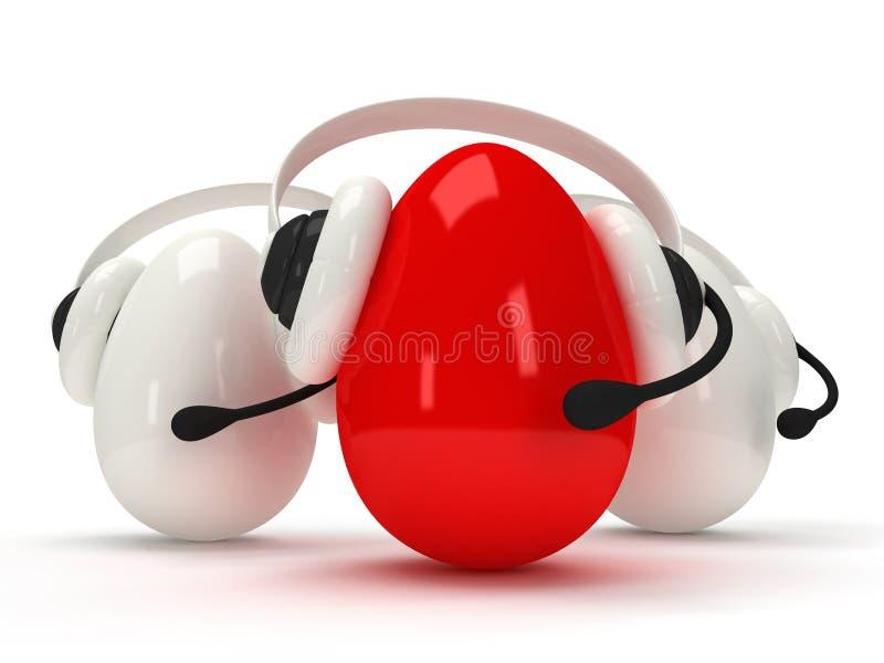 Huevos brillantes con las auriculares sobre blanco
