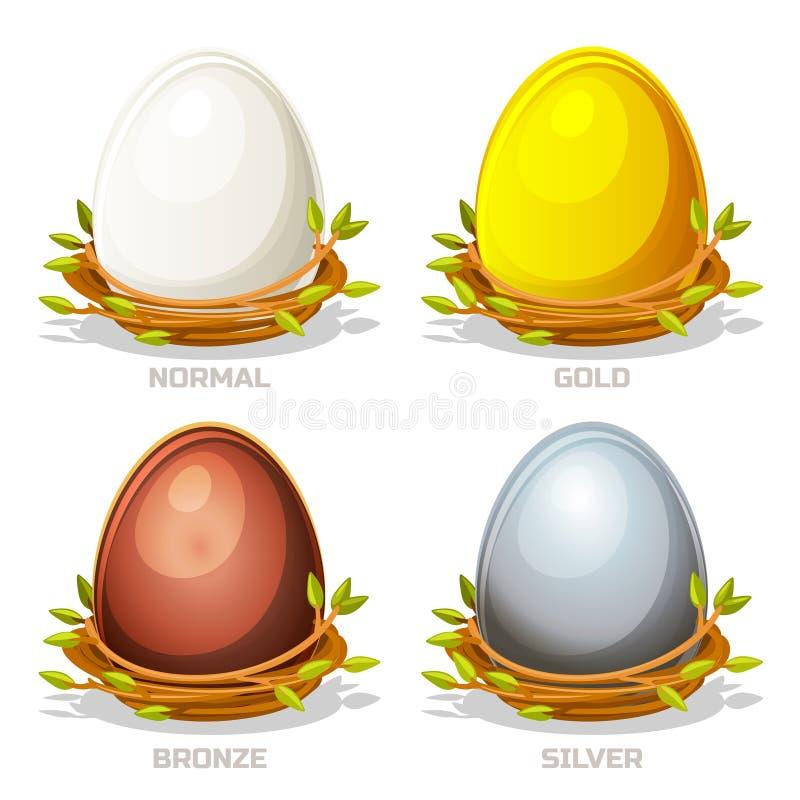 Huevos coloreados divertidos de la historieta en la jerarquía de los pájaros de ramitas ilustración del vector