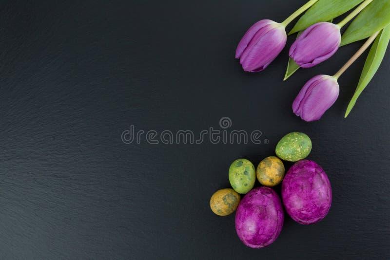 Huevos coloridos de pascua y de codornices y flores del tulipán en la tabla de piedra Visión superior con el espacio de la copia foto de archivo libre de regalías