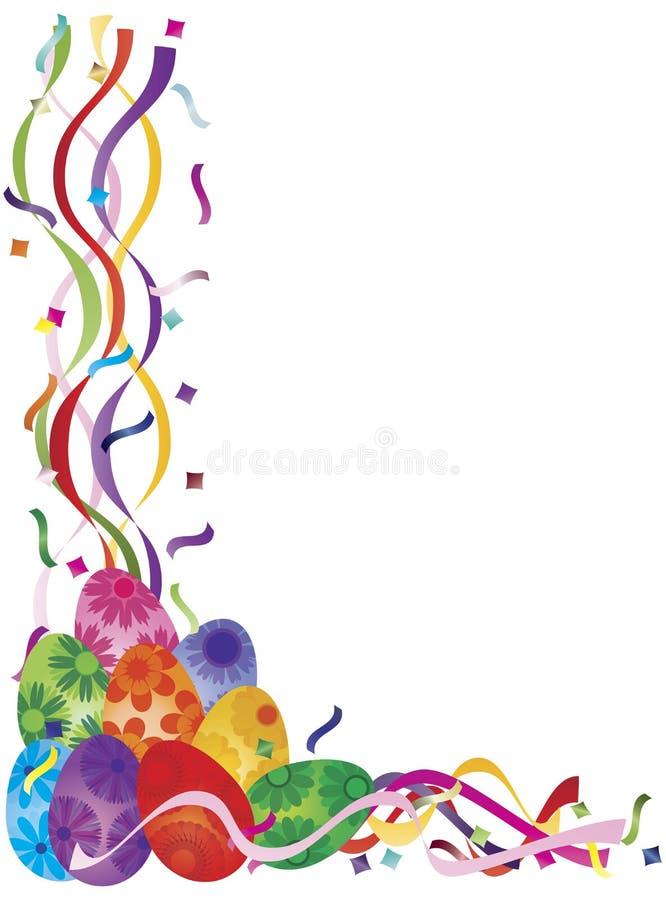 Huevos coloridos del día de Pascua en frontera del confeti ilustración del vector
