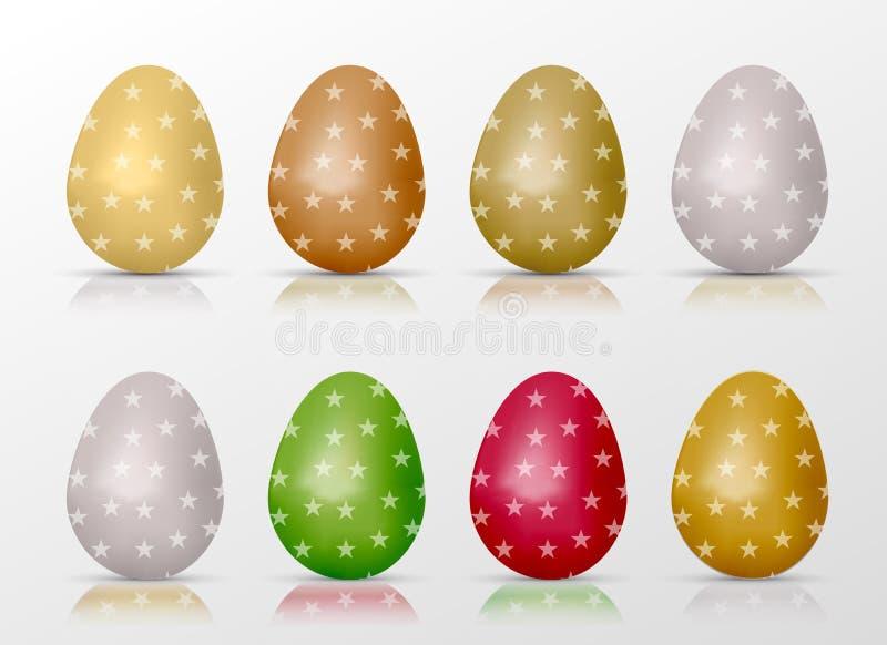 Huevos coloridos realistas de Pascua fijados con el terraplén y reflexiones de la estrella libre illustration