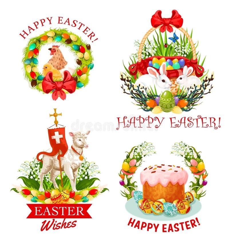 Huevos, conejitos, flor y torta del día de fiesta de Pascua stock de ilustración