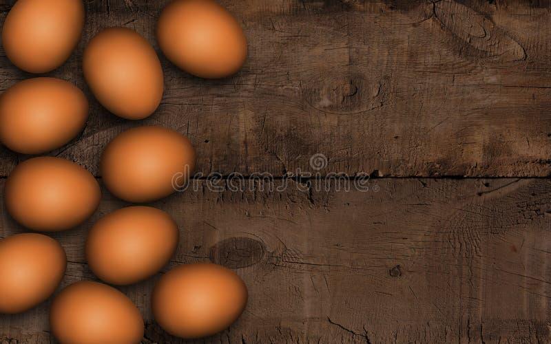 Huevos de Brown Pascua en una tabla de madera Ciérrese para arriba de los huevos de Pascua marrones en fondo de madera oscuro Fon imagen de archivo libre de regalías