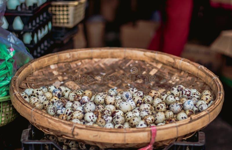 Huevos de codornices en la cesta fotografía de archivo