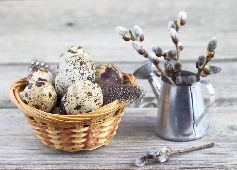 Huevos de codornices en una cesta fotos de archivo