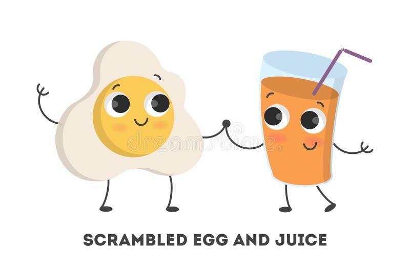 Huevos de la historieta con el jugo ilustración del vector