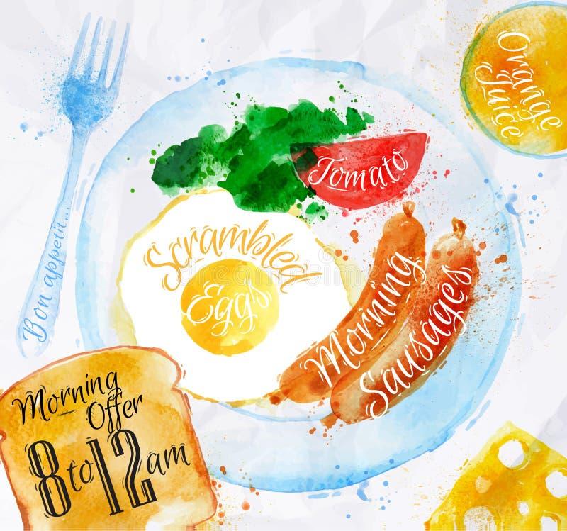 Huevos de la salchicha de las acuarelas del desayuno libre illustration