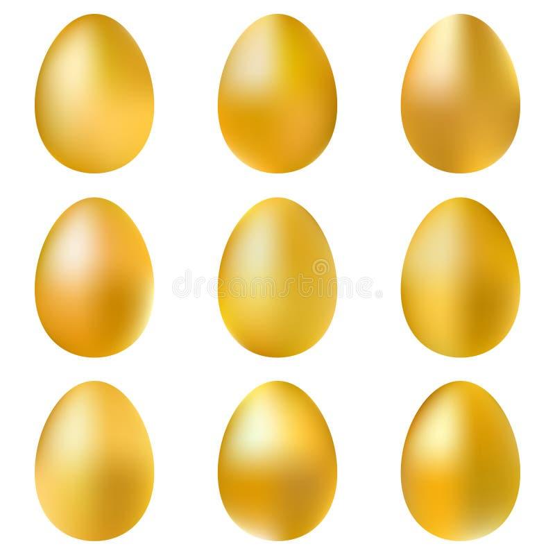 Huevos de oro fijados stock de ilustración