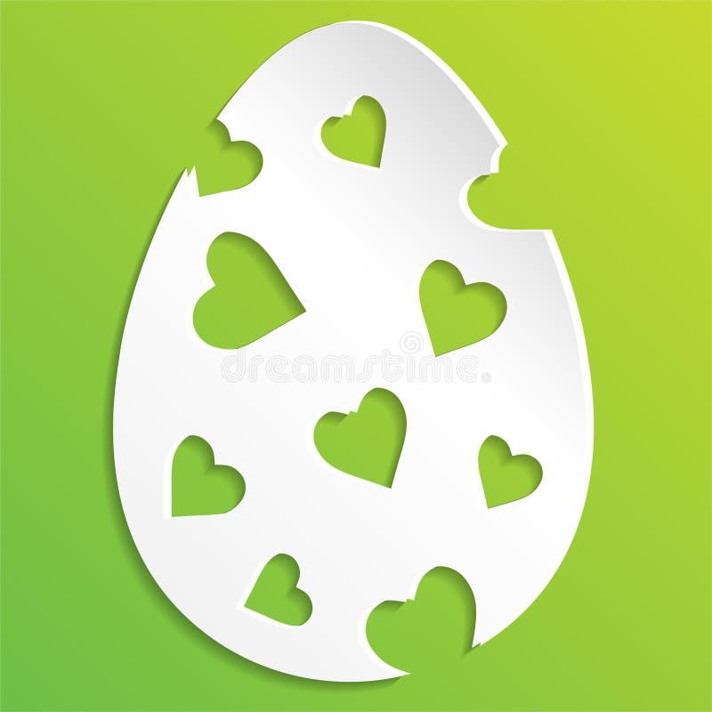 Huevos de Pascua aislados en el fondo blanco Ejemplo de un huevo de Pascua adornado con el fondo verde corte el huevo de Pascua d libre illustration