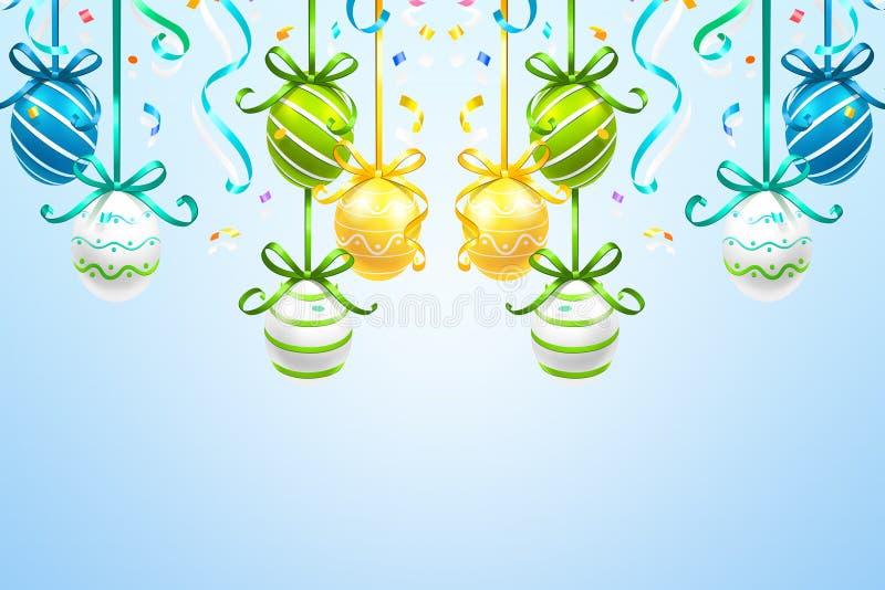 Huevos de Pascua coloreados colgantes en el fondo azul stock de ilustración