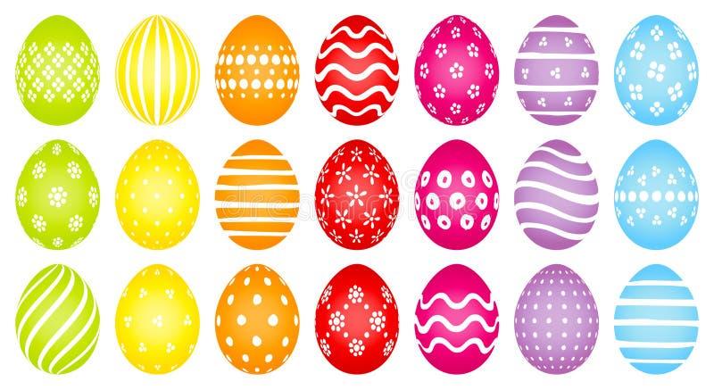 Huevos de Pascua coloreados con diverso modelo blanco libre illustration