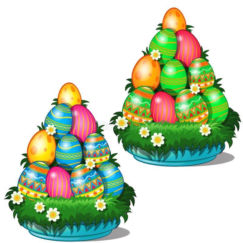 Huevos de Pascua coloridos con diversos modelos apilados en cono en la placa con la hierba y las flores Símbolo para el día de fi ilustración del vector