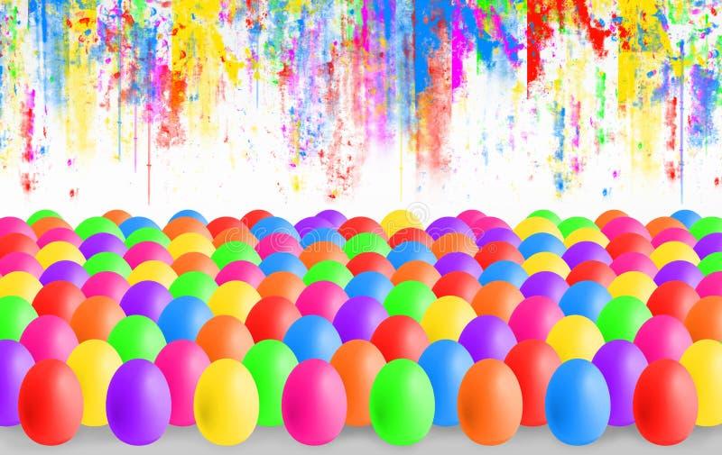 Huevos de Pascua coloridos con el copyspace stock de ilustración