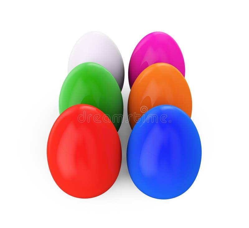 Huevos de Pascua coloridos 3d rinden la ilustración ilustración del vector
