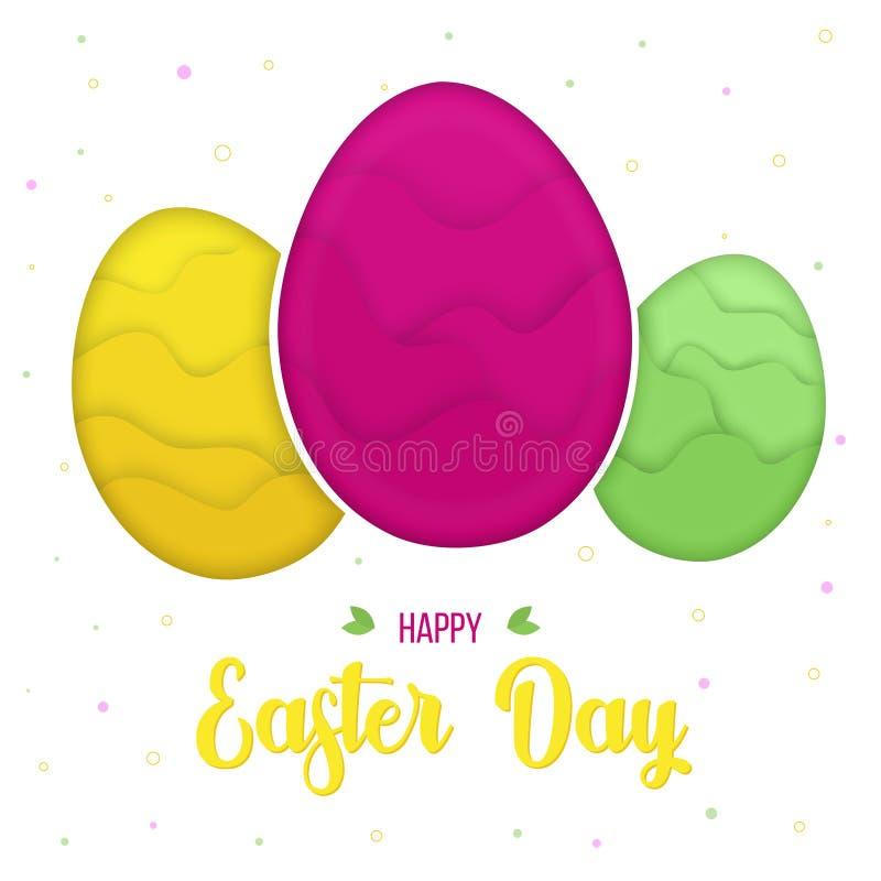 Huevos de Pascua coloridos del papercut, plantilla de la tarjeta de felicitaciones al día de fiesta de Pascua stock de ilustración