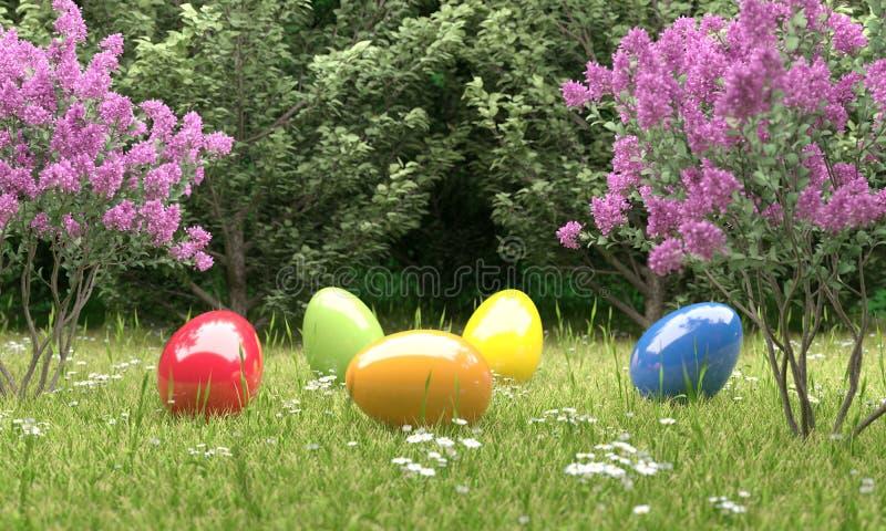 Huevos de Pascua coloridos delante de un ejemplo del bosque 3D ilustración del vector