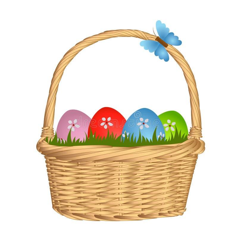 Huevos de Pascua coloridos en cesta de mimbre libre illustration