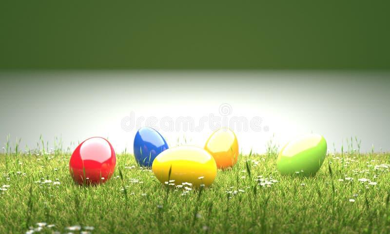 Huevos de Pascua coloridos en el ejemplo del césped 3D ilustración del vector