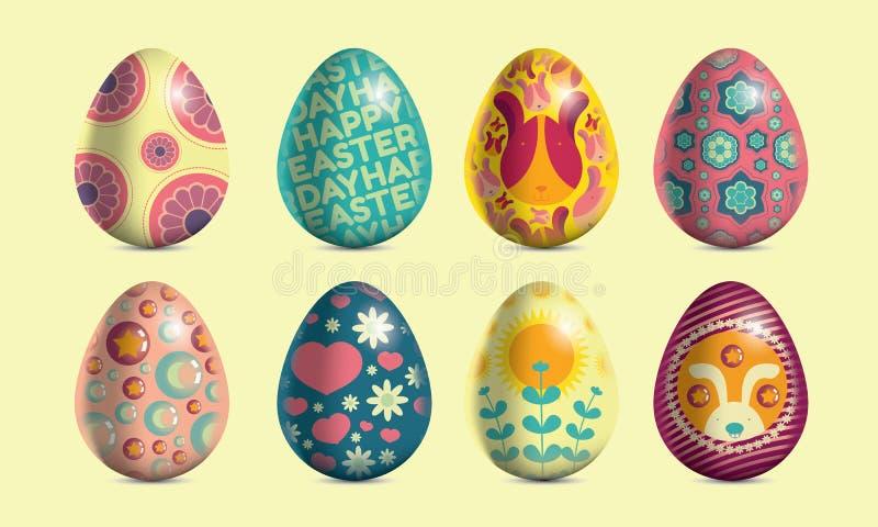 Huevos de Pascua coloridos en el fondo poner crema imágenes de archivo libres de regalías