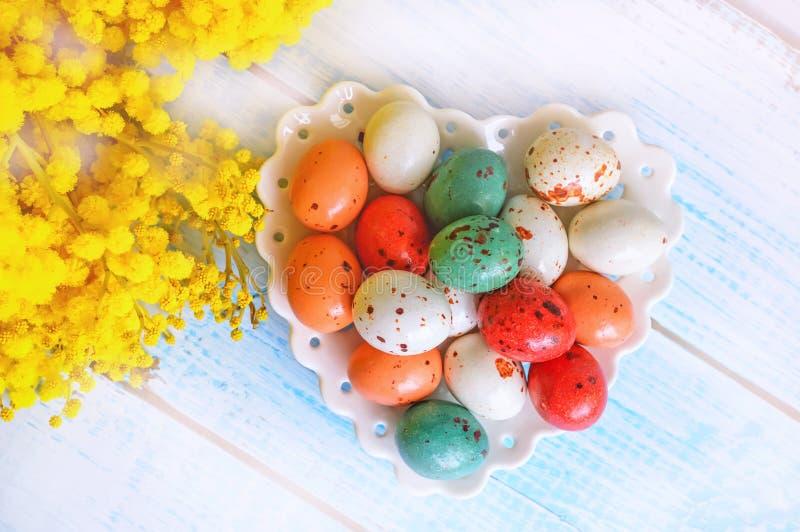 Huevos de Pascua coloridos en un plato blanco en la forma de corazones y de flores de la mimosa en una tabla de madera azul Cierr fotografía de archivo