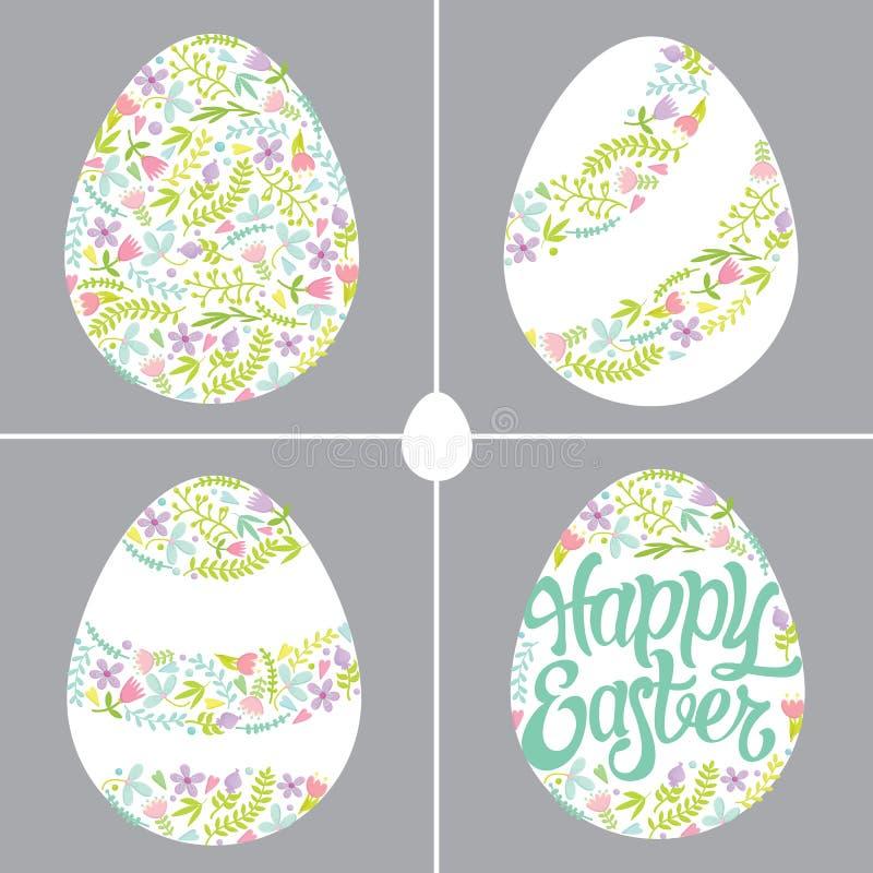 Huevos de Pascua con diversas decoraciones florales foto de archivo libre de regalías