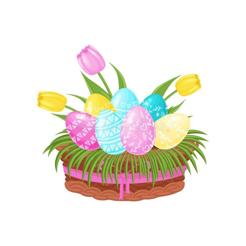 Huevos de Pascua con el ornamento, las flores del tulipán y la hierba verde en cesta con la cinta rosada Vector plano para la pos libre illustration