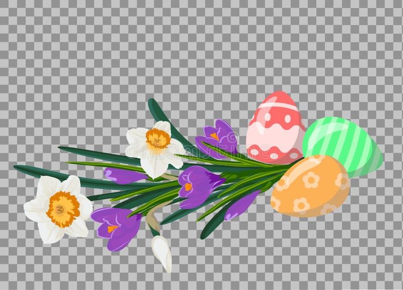 Huevos de Pascua con el ramo de narcisos blancos y de crocuces violetas Todavía de Pascua vida imágenes de archivo libres de regalías