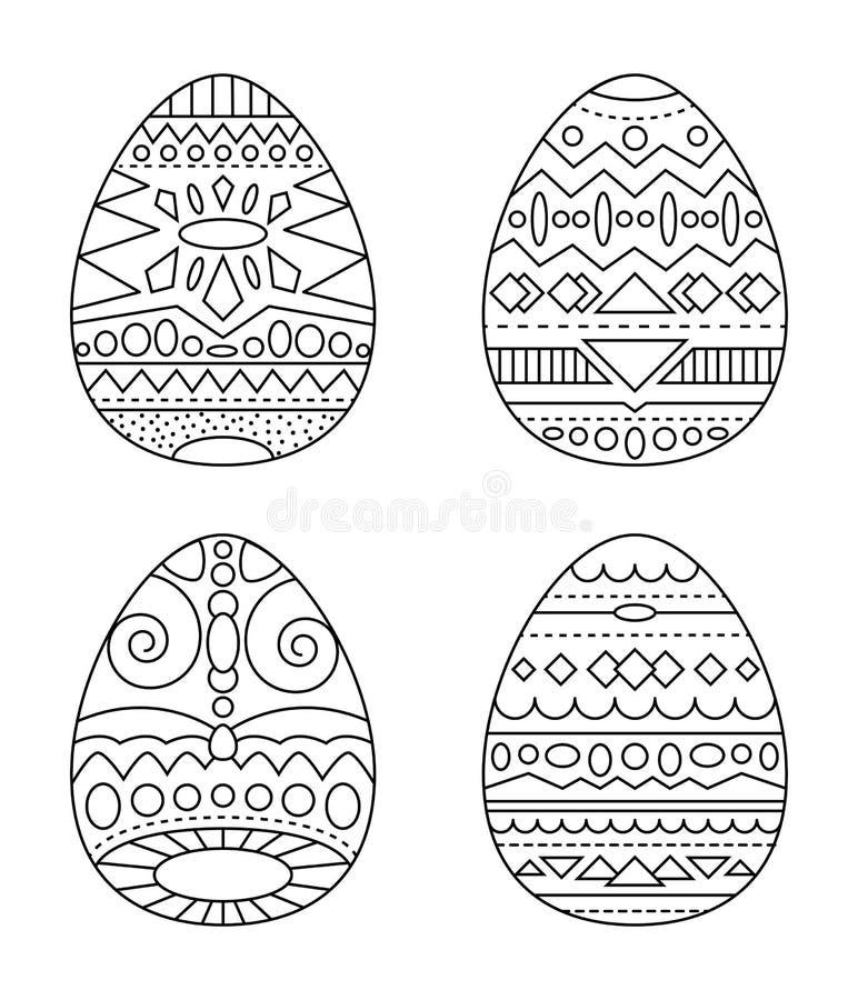 Huevos de Pascua con la página tribal del colorante del ornamento Huevos blancos y negros con el clipart étnico del modelo stock de ilustración