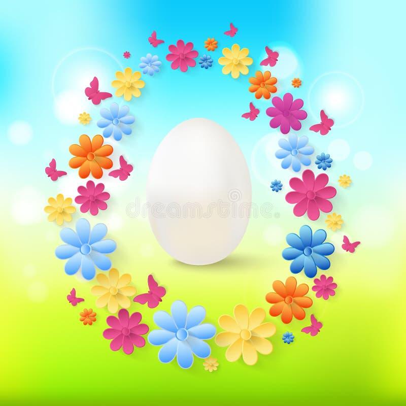 Huevos de Pascua con las flores coloridas, mariposas en fondo de la primavera libre illustration