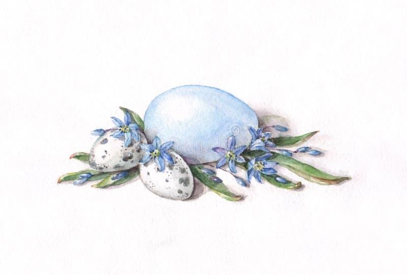 Huevos de Pascua con las flores del scilla ilustración del vector