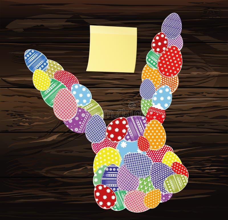 Huevos de Pascua con un modelo en la forma de un conejo Hoja de papel amarilla vacía para las notas sticker Tarjeta de felicitaci ilustración del vector