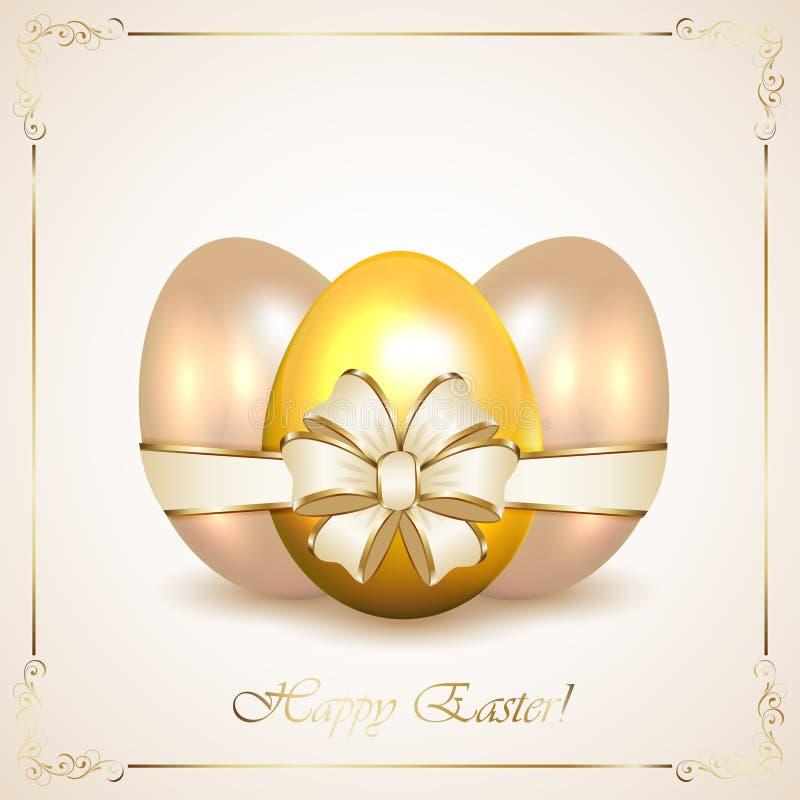 Huevos de Pascua decorativos con el marco floral stock de ilustración
