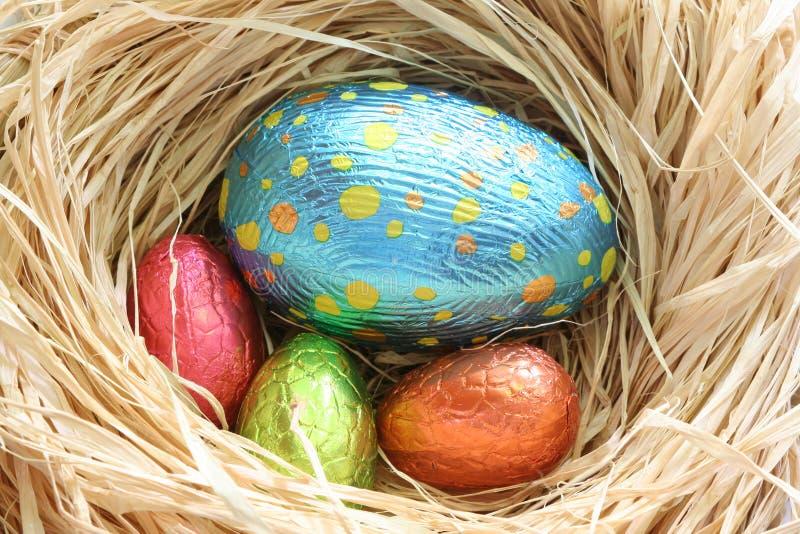Huevos de Pascua del chocolate imagen de archivo libre de regalías
