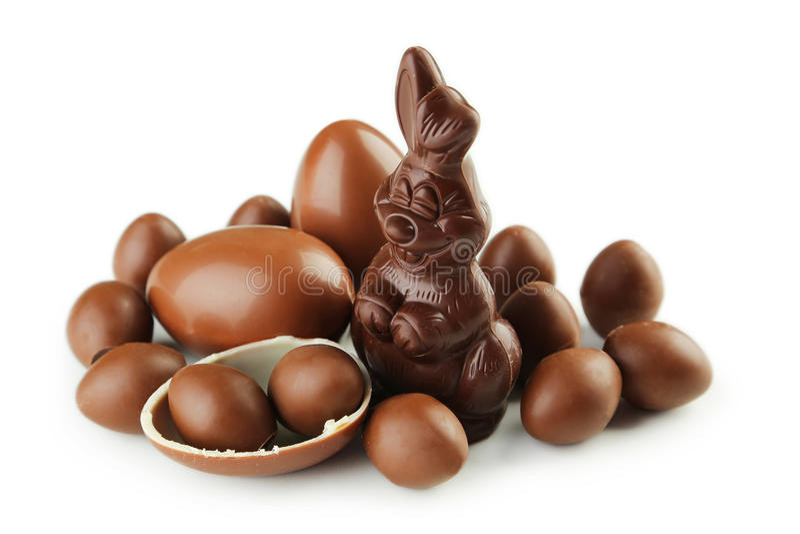 Huevos de Pascua del chocolate foto de archivo