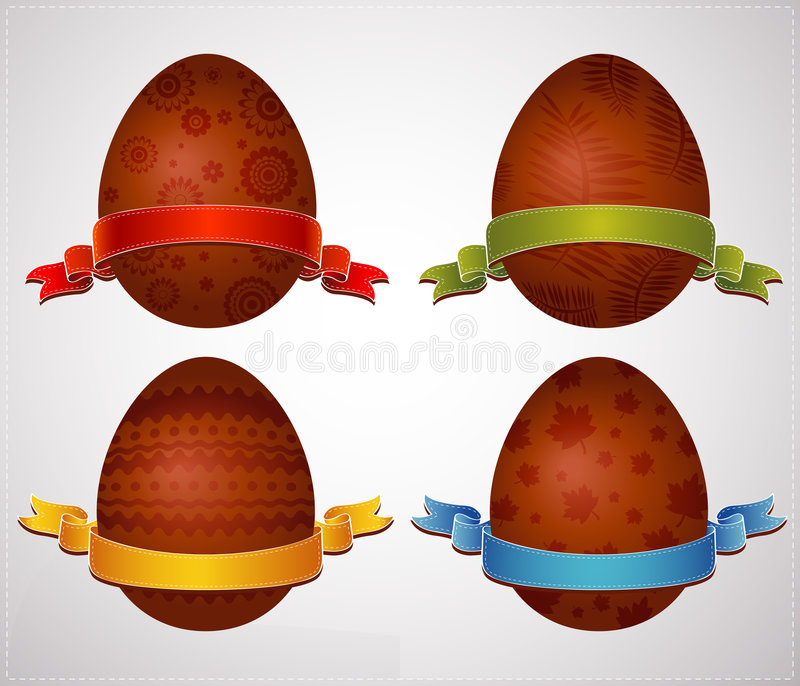 Huevos de Pascua del chocolate, vector stock de ilustración