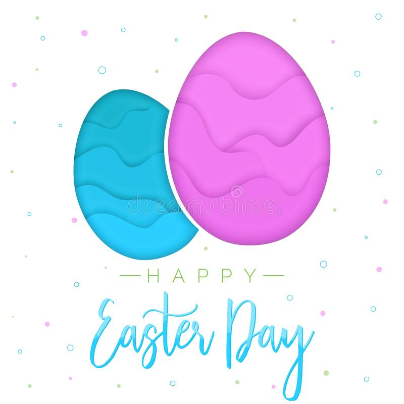 Huevos de Pascua del estilo de Papercut, plantilla del diseño de la tarjeta de felicitaciones al día de Pascua stock de ilustración