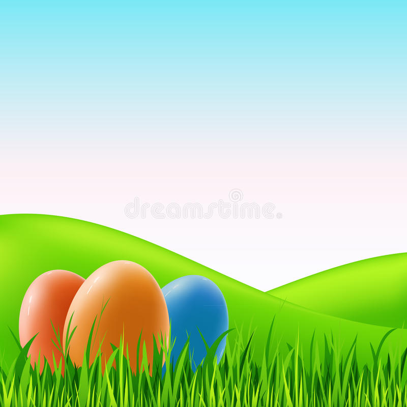 Huevos de Pascua del vector en hierba ilustración del vector